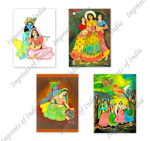 Krishna and Holi Greeting Card Set