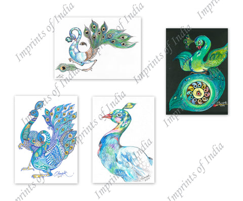 Peacock 1 Greeting Card Set