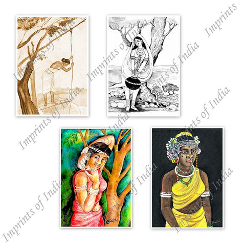 Indian Tribal Women Greeting Card Set