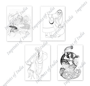 Women in Sketch Greeting Card Set