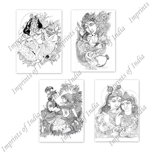 Radha Krishna Sketch Greeting Card Set
