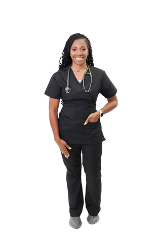 Onyx Mock Neck Scrub Set