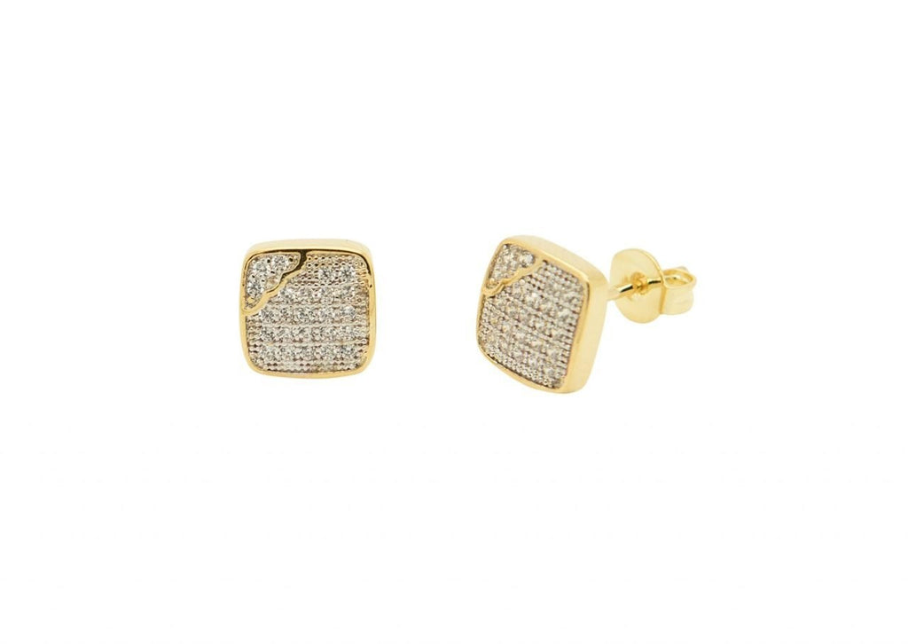 Squared Off Iced Out Gold Earrings
