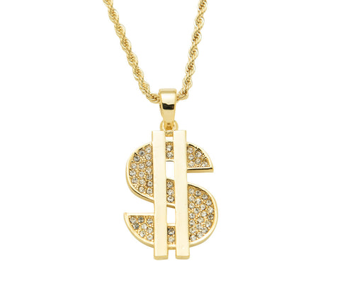 14K Dollar Sign Pendant