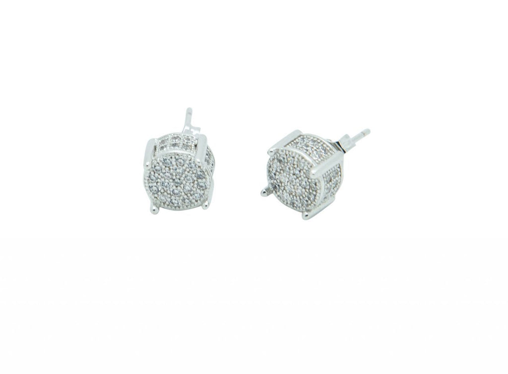 Round Ice Earring-White Gold