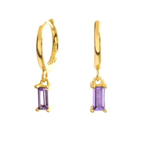 GOLD LILAC STONE EARRINGS