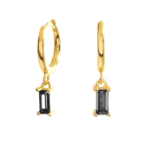 GOLD BLACK STONE EARRINGS