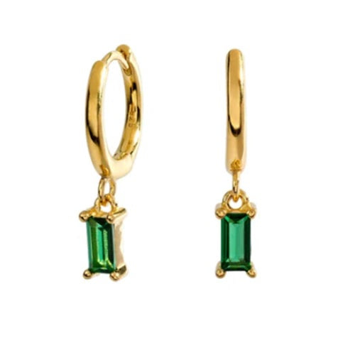 GOLD GREEN STONE EARRINGS