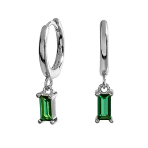 SILVER GREEN STONE EARRINGS