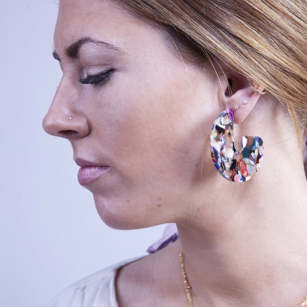 PENDIENTES CAREY DISCO MULTICOLOR - DRAMMAS