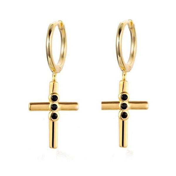 GOLD BLACK ZIRCON CROSS EARRINGS