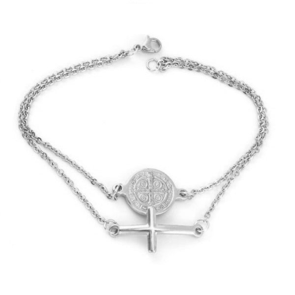 SILVER CROSS AND COIN BRACELET