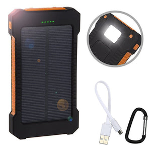 Waterproof 8000Mah Solar Power Bank Solar Charger Dual USB Power Bank with LED Light for iPhone 6s 6 Plus IPAD Android Phone