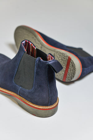 Load image into Gallery viewer, Roamers Suede Chelsea Boots - Navy - Hewlett & Co