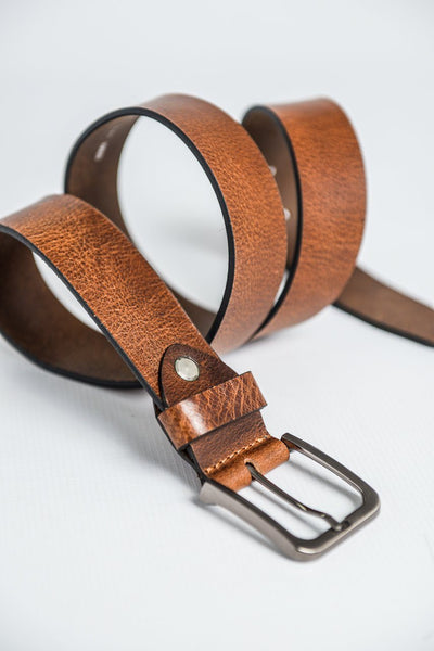 Charles Smith Rustic Leather Belt - Dark Tan