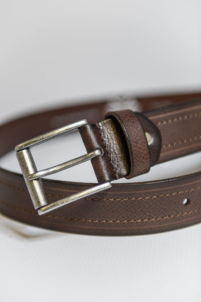 Charles Smith Stitched Leather Belt - Brown