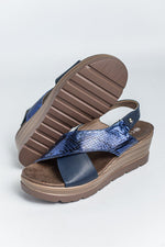 Cipriata Crossover Wedge Sandal - Navy