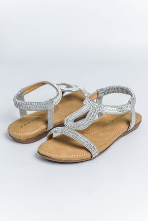 Load image into Gallery viewer, Cipriata Diamante Halter Back Sandal - Silver