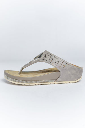 Cipriata Toe Post Wedge Sandal - Pewter
