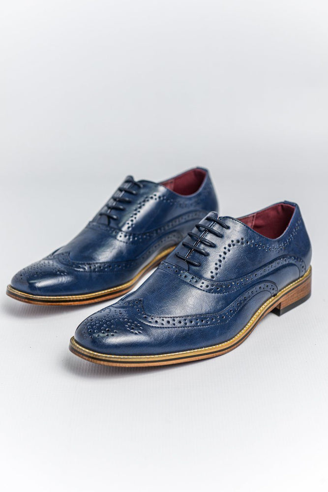 Goor Aegean Blue Oxford Brogue Shoes