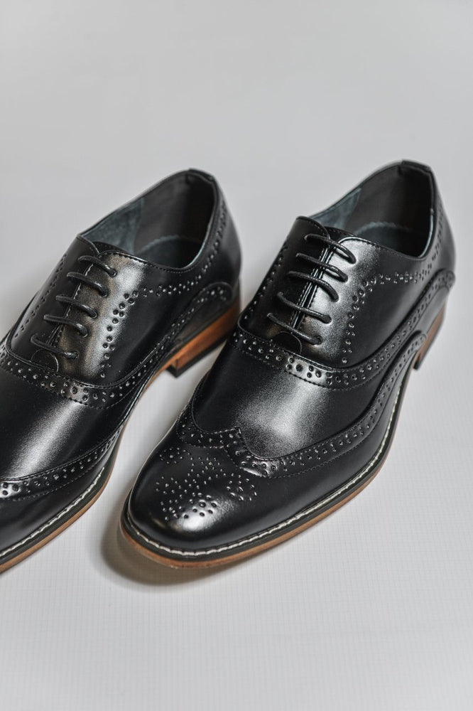 Goor Black Oxford Brogue Shoes