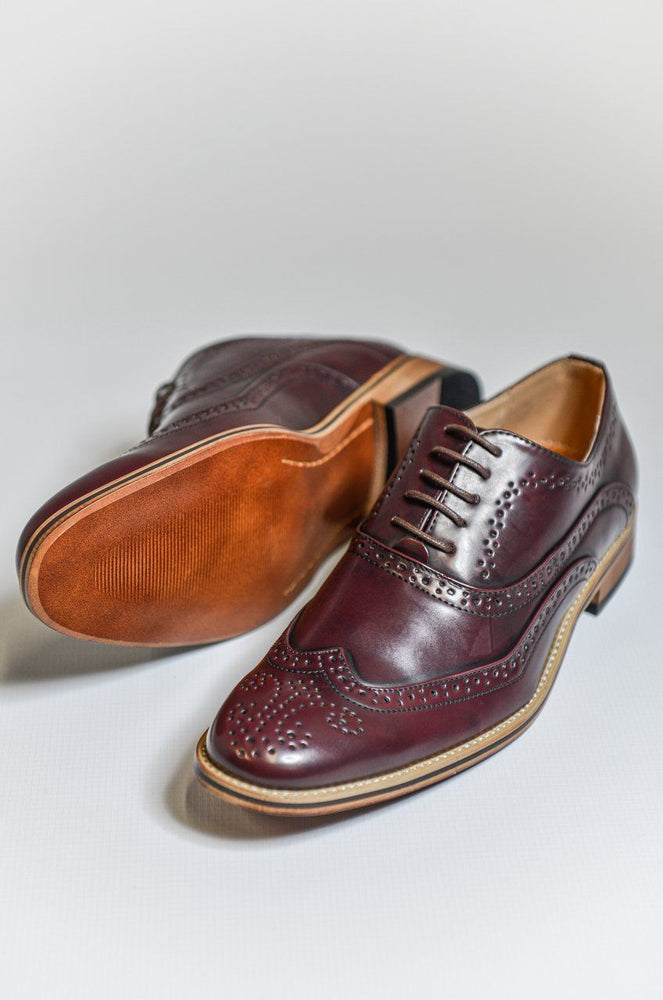 Goor Burgundy Oxford Brogue Shoes