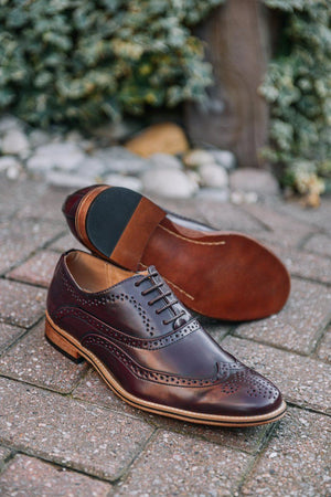 Load image into Gallery viewer, Goor Burgundy Oxford Brogue Shoes Burgundy UK 6
