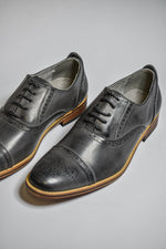 Goor Burnished Grey Oxford Brogue Shoes