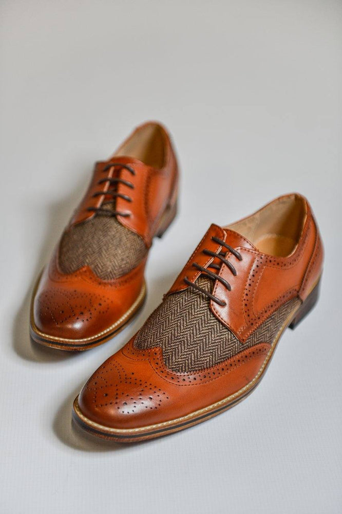 Goor Herringbone Tweed Tan Brogue Shoes