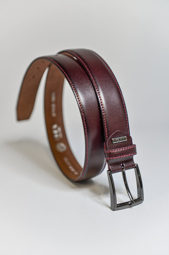 IBEX Stitched Edge Leather Belt - Burgundy