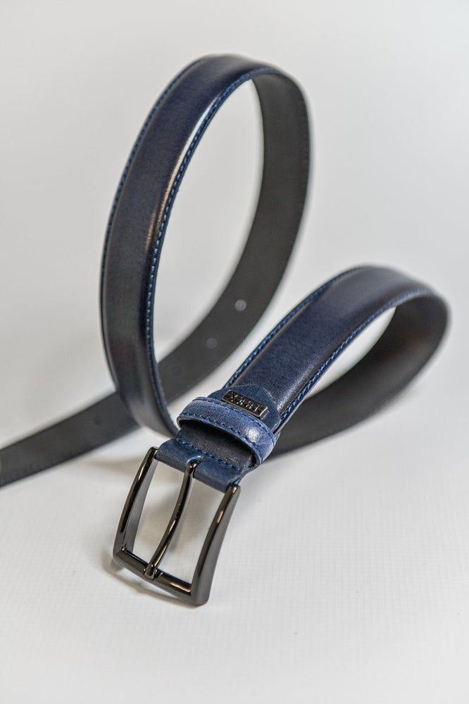 IBEX Stitched Edge Leather Belt - Navy