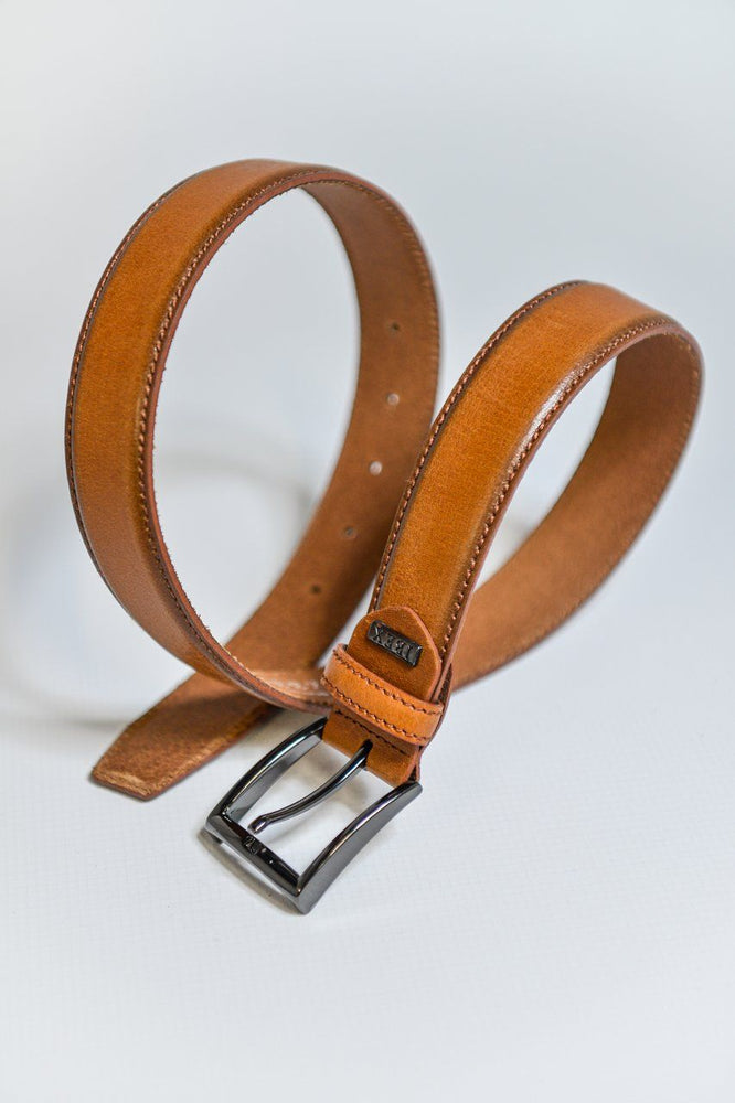 IBEX Stitched Edge Leather Belt - Tan