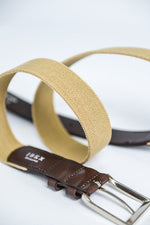 IBEX Stretch Belt with Leather Finish - Beige