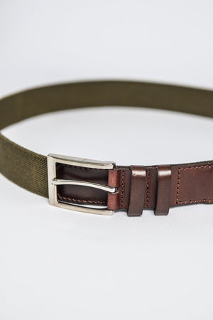 IBEX Stretch Belt with Leather Finish - Khaki