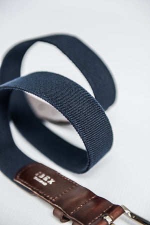 IBEX Stretch Belt with Leather Finish - Navy