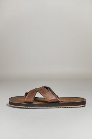 PDQ Crossover Flip Flop Sandals Brown UK 7