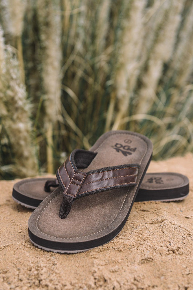 PDQ Toe Post Flip Flop Sandals Brown UK 7