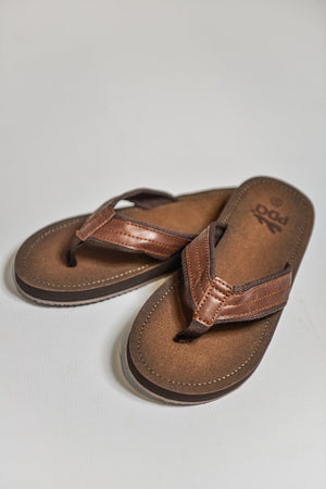 Load image into Gallery viewer, PDQ Toe Post Flip Flop Sandals Brown UK 7