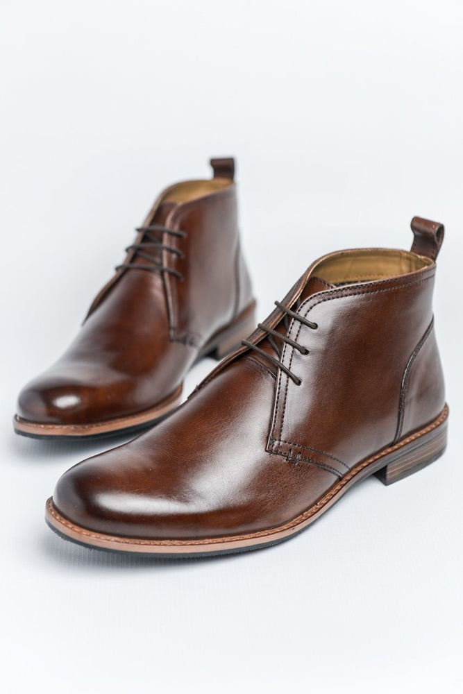Roamers Brown Leather Desert Boots