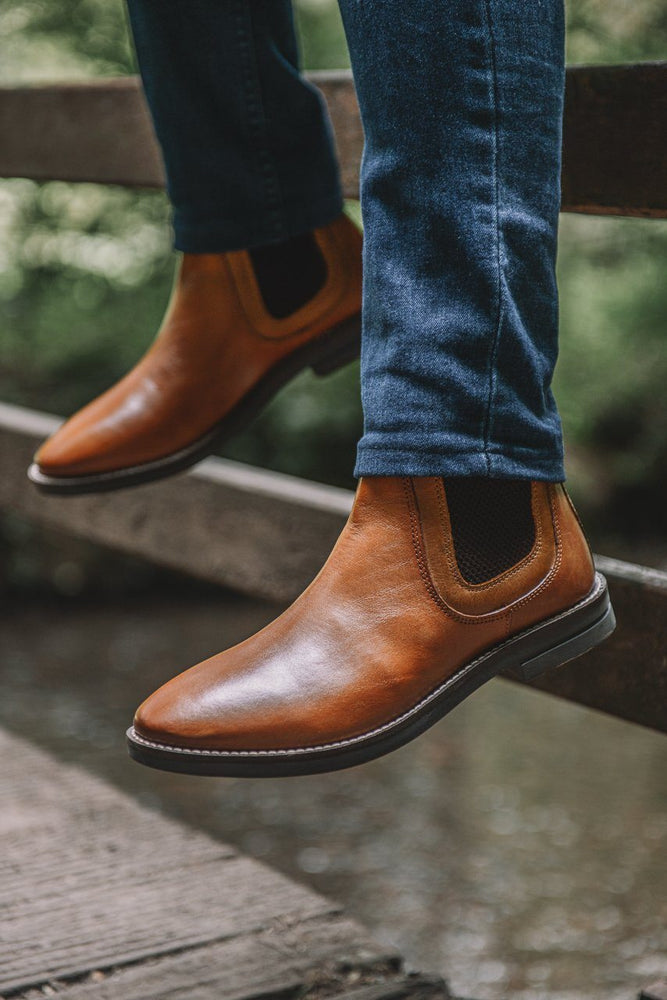 Roamers Leather Chelsea Boots - Tan Tan UK 6