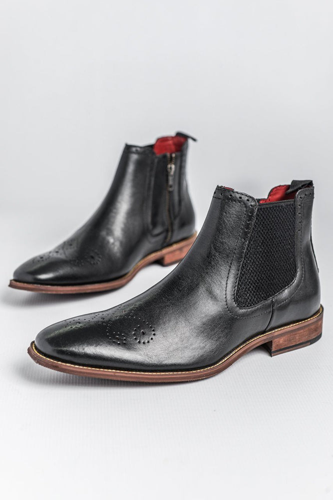 Roamers Leather Zip Chelsea Boot - Black