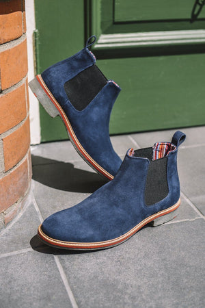 Load image into Gallery viewer, Roamers Suede Chelsea Boots - Navy Navy UK 6