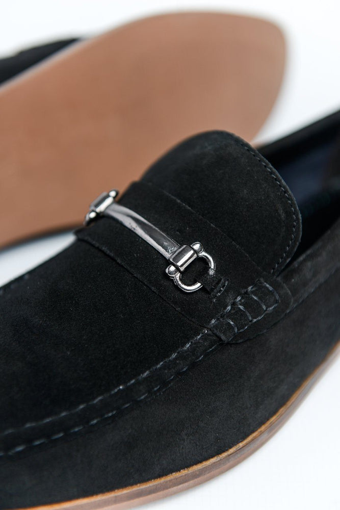 Roamers Suede Loafers with Bar Detail - Black