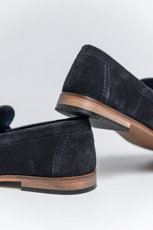Roamers Suede Loafers with Bar Detail - Dark Navy