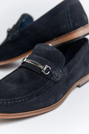 Roamers Suede Loafers with Bar Detail - Dark Navy Dark Navy UK 6