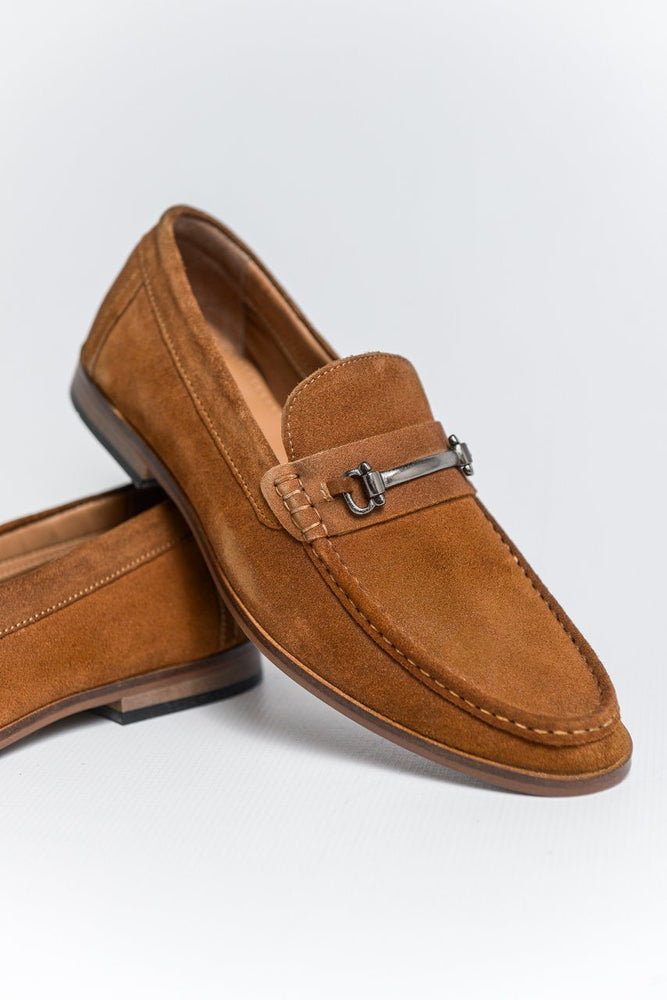 Roamers Suede Loafers with Bar Detail - Tan