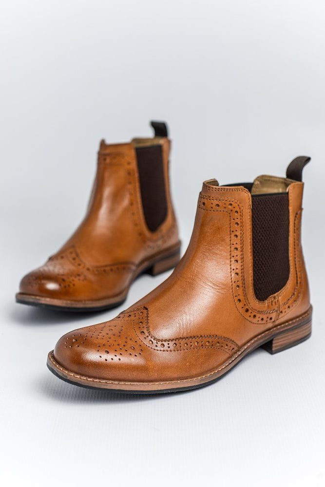 Roamers Tan Leather Brogue Boots