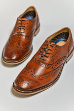 Roamers Tan Leather Brogue Shoes