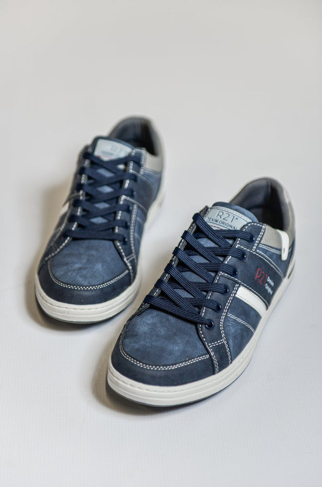 Route 21 Navy Textile Trainers