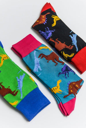 Load image into Gallery viewer, Sock Society Dinosaur Cotton Socks